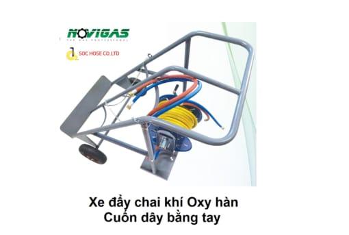 Novishop.vn- Xe đẩy chai khí Oxy hàn cuốn dây bằng tay